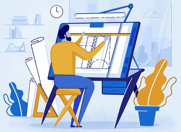 Man architect creator drafting at desk for sketch Premium Vector