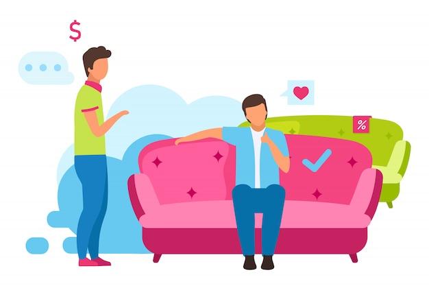 Man bank illustratie kopen. jongen die comfortabele bank voor interieurontwerp kiest, winkelmedewerker die de stripfiguren van de klant helpt. consument doet aankopen in meubelwinkel Premium Vector