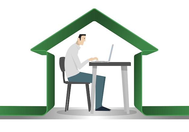 Man beschermd onder een groen huis om coronavirusgevaar te vermijden. zelfquarantaine. Premium Vector