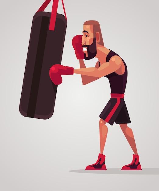 Man bokser karakter traint. Premium Vector