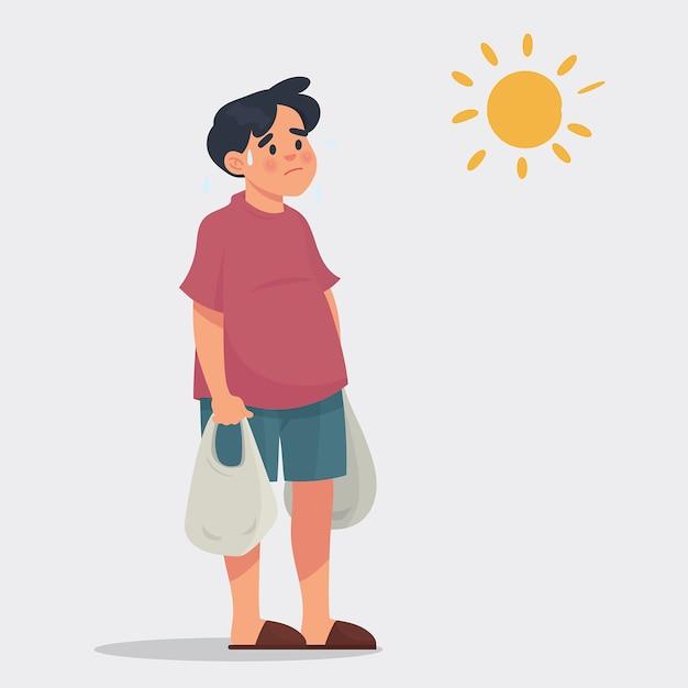 Man brengen boodschappentas in een warme dagen Premium Vector