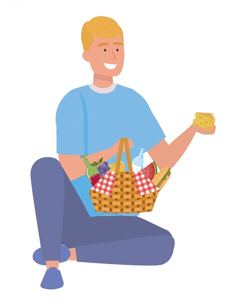 Man cartoon met picknick Premium Vector