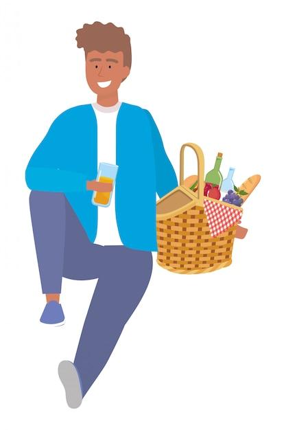 Man cartoon met picknick Premium Vector