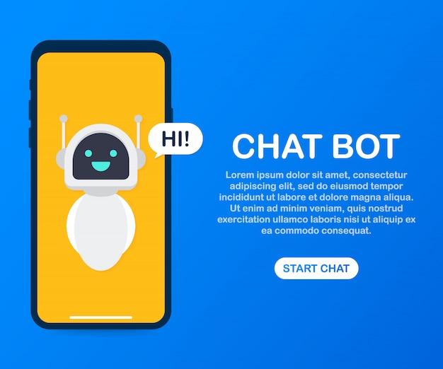 Man chatten met chat bot in smartphone sjabloon Premium Vector