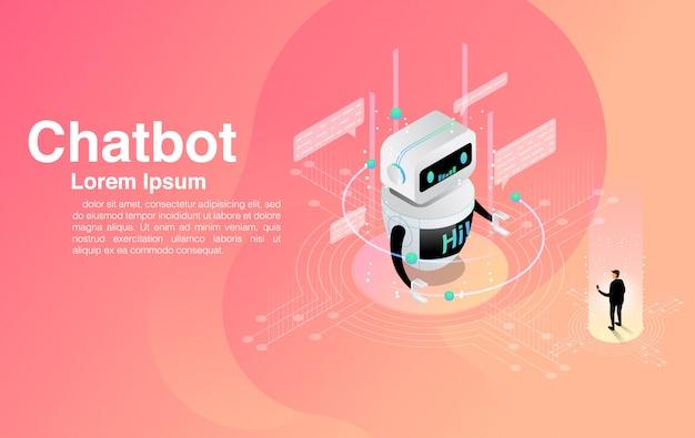 Man chatten met chatbot-applicatie. dialoog help-service. ai en zakelijke iot. Premium Vector