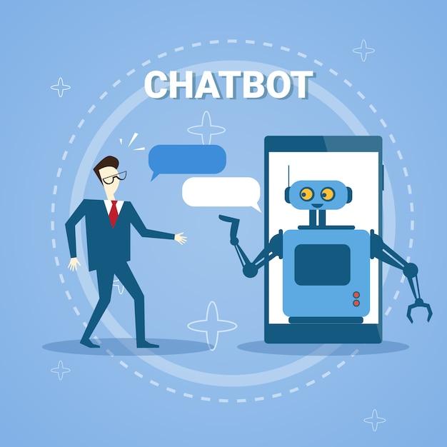 Man chatten met chatter bot van smart phone online support assistance technology Premium Vector