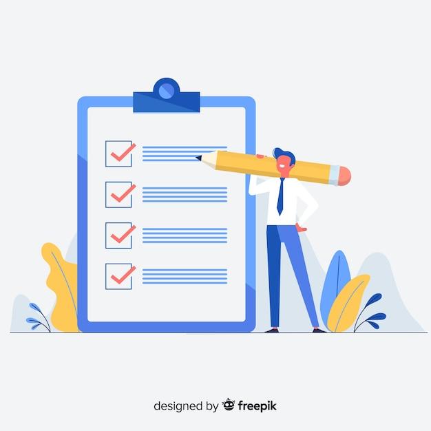 Man controleren gigantische checklist Gratis Vector