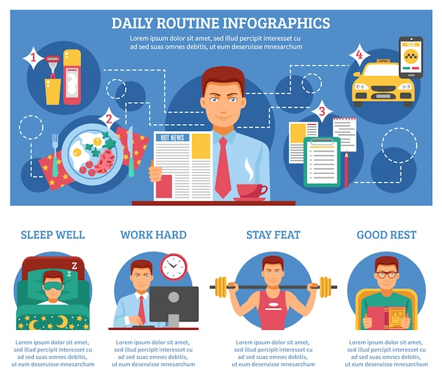Man dagelijkse routine infographics Gratis Vector