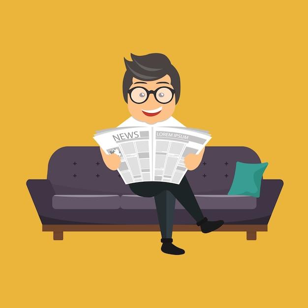 Man die een krant leest Gratis Vector