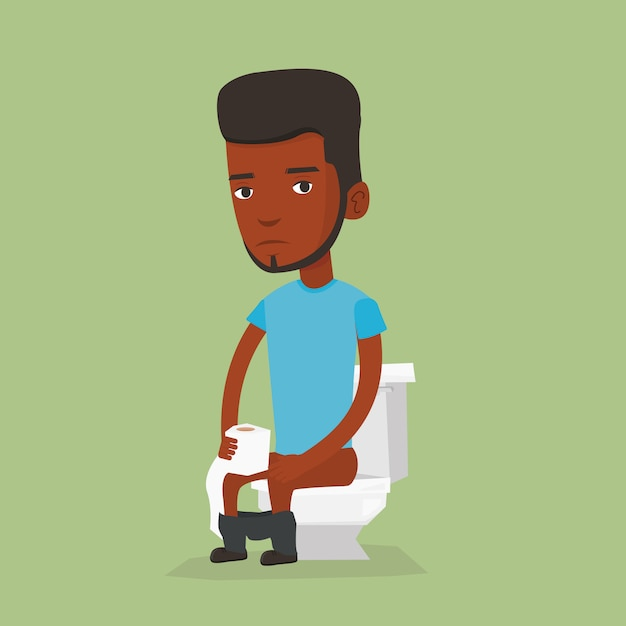 Man die lijdt aan diarree of obstipatie. Premium Vector