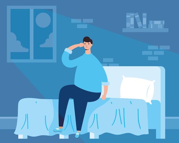 Man die lijdt aan slapeloosheid karakter illustratie Premium Vector