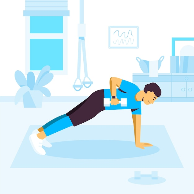 Man doet plank oefeningen met halters Gratis Vector
