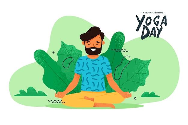 Man doet yoga-oefeningen in de natuur Gratis Vector
