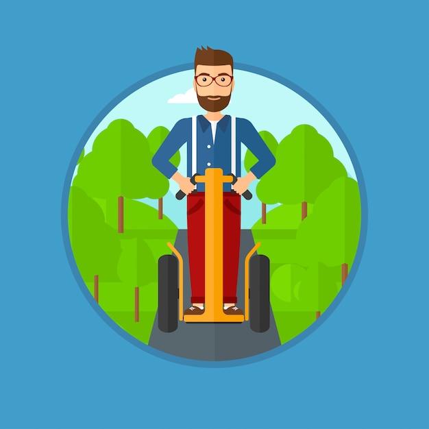 Man elektrische scooter rijden. Premium Vector