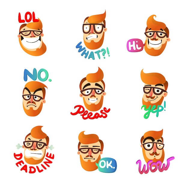 Man emoties set Gratis Vector