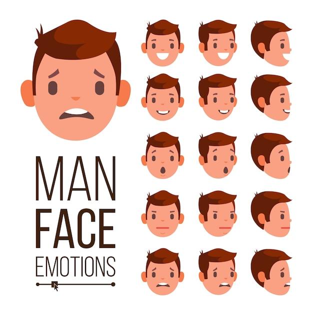 Man emoties vector. verschillende mannelijke gezicht avatar expressies instellen. emotionele set voor animatie Premium Vector
