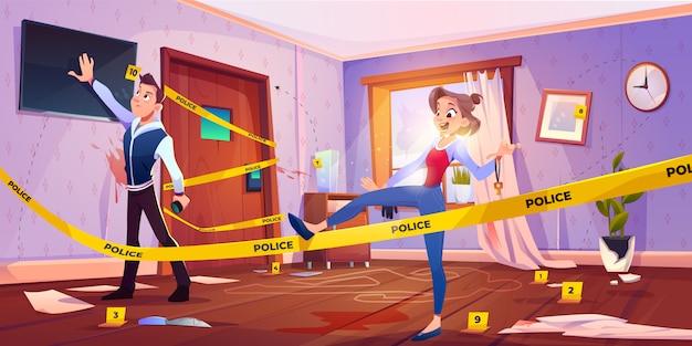 Man en meisje in quest escape room met plaats delict Gratis Vector