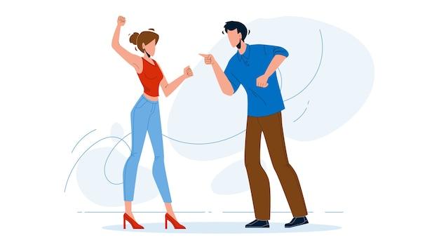 Man en meisje paar schreeuwen tegen elkaar Premium Vector