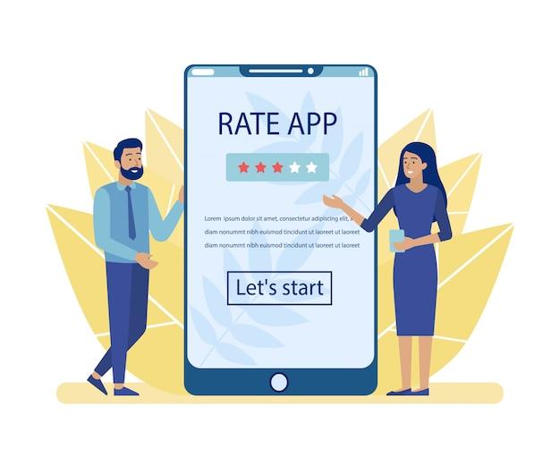 Man en vrouw adverteren rate app voor mobiel Premium Vector