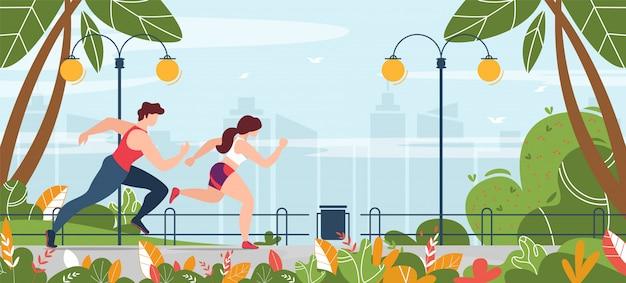 Man en vrouw die zich bezighouden met fitness uitgevoerd in park banner Premium Vector