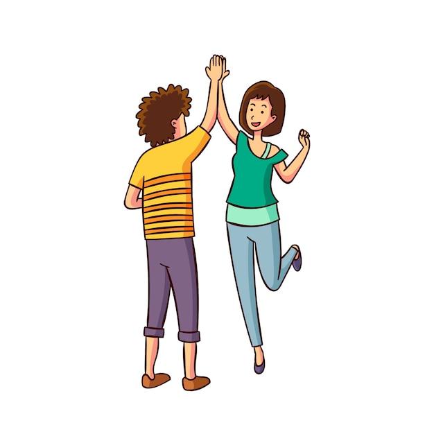 Man en vrouw geven high five Gratis Vector