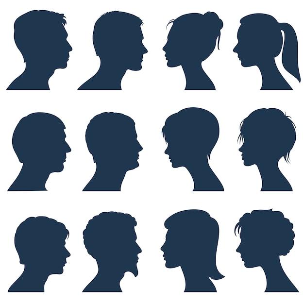 Man en vrouw gezicht profiel vector silhouetten Premium Vector
