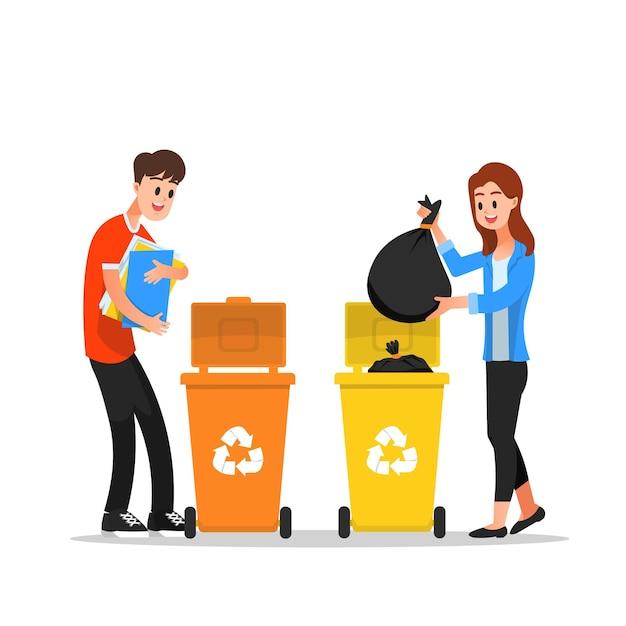 Man en vrouw gooien afval in prullenbakken Premium Vector