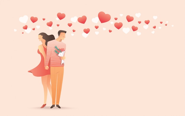 Man en vrouw hand in hand voor valentijnsdag Premium Vector