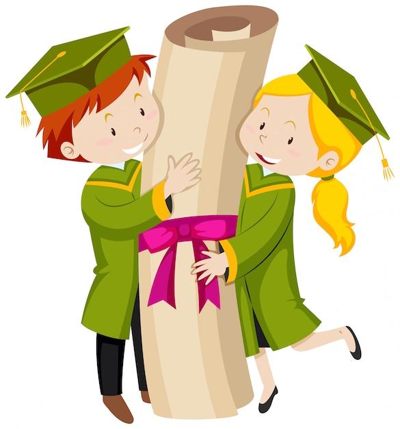Man en vrouw in groene graduatietoga Gratis Vector