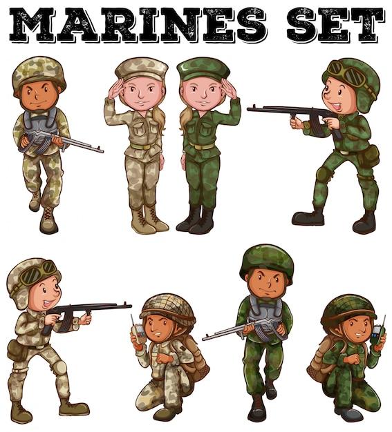 Man en vrouw in soldaatuniformen Gratis Vector