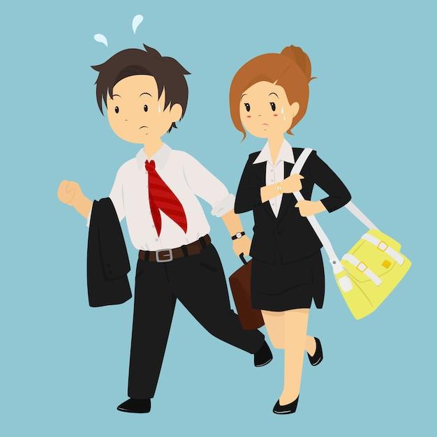 Man en vrouw laat voor werk vector teken Premium Vector