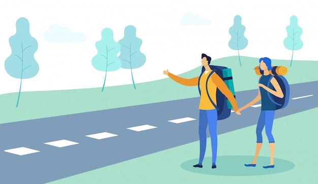 Man en vrouw lifter reizen met rugzak. Premium Vector