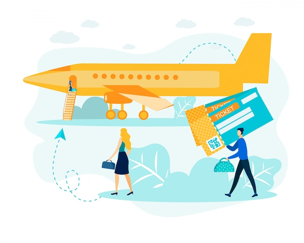 Man en vrouw met e-ticket op luchthaven metafoor Premium Vector