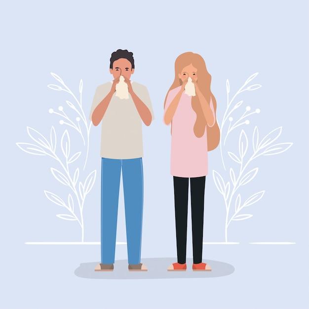 Man en vrouw met koude holding weefsel ontwerp van medische zorg hygiëne gezondheid noodhulp examen kliniek en patiënt thema illustratie Premium Vector
