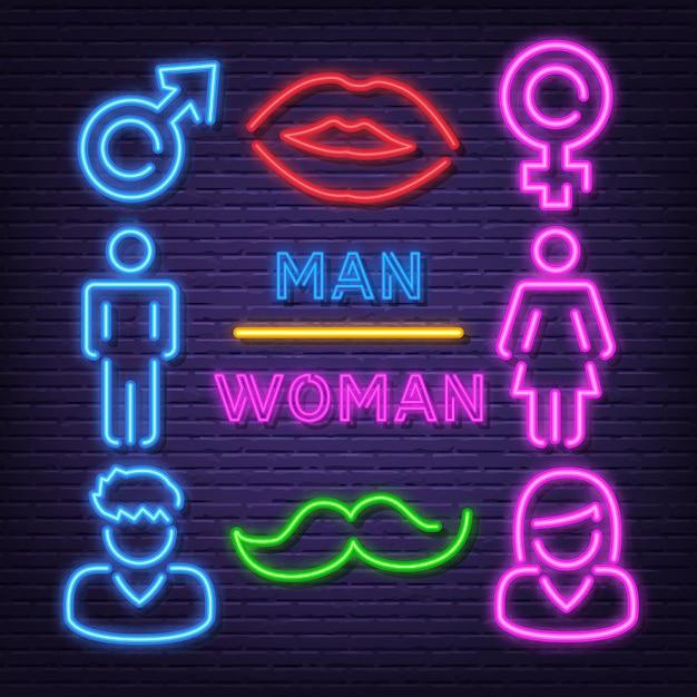 Man en vrouw neon pictogrammen Premium Vector