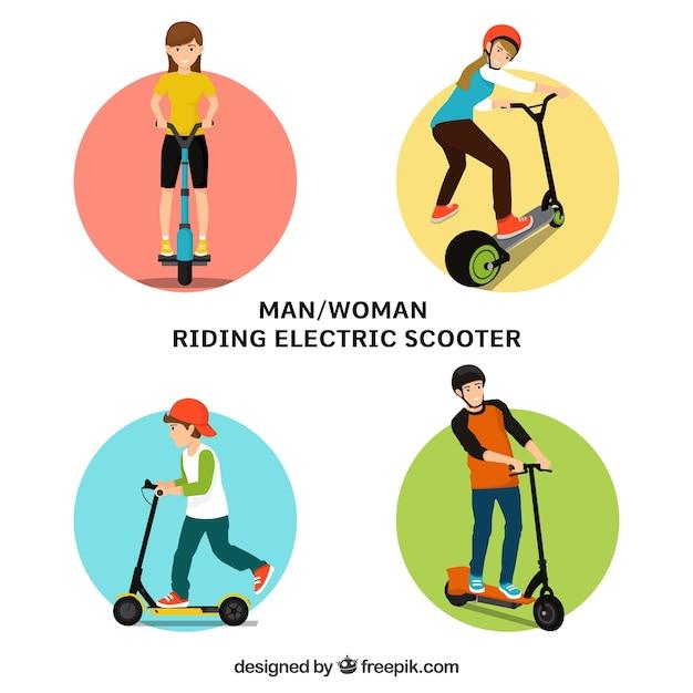 Man en vrouw rijden elektrische scooter Gratis Vector