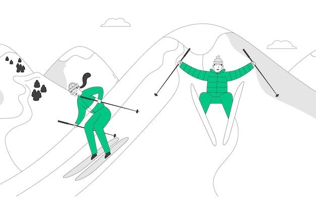Man en vrouw skiërs skiën bergafwaarts Premium Vector