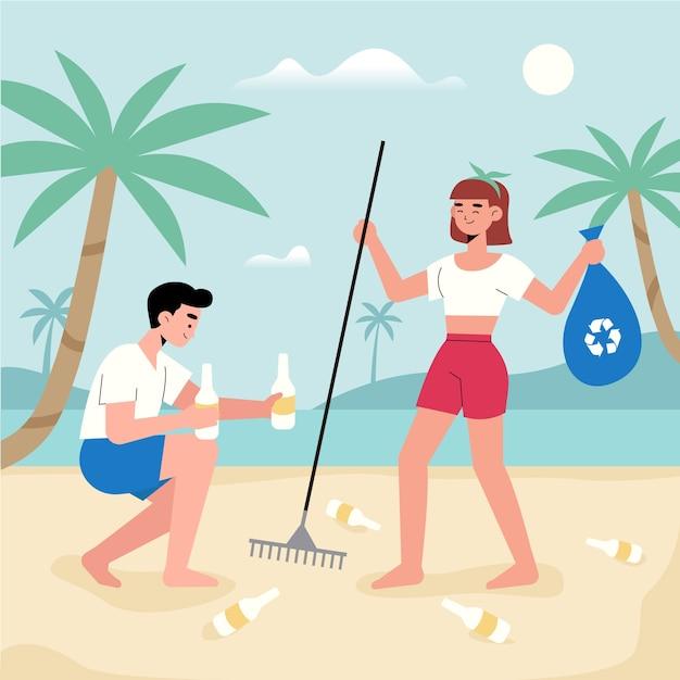 Man en vrouwen schoonmakend strand samen Gratis Vector