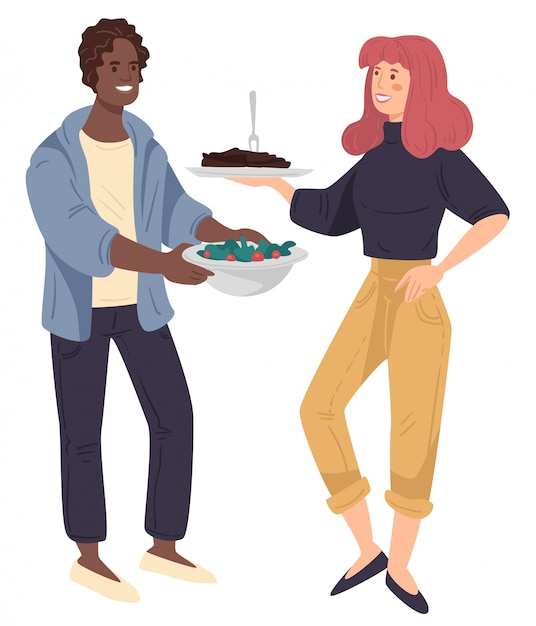 Man en vrouwenholdingsdih met vlees en groente op plaat Premium Vector