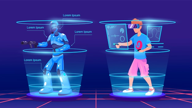 Man en zijn virtuele personage in het spel in het harnas. video games illustratie. virtual reality-technologie smart gaming. conceptuele vr-spellen in neonstijl. man met virtual reality headset. Premium Vector