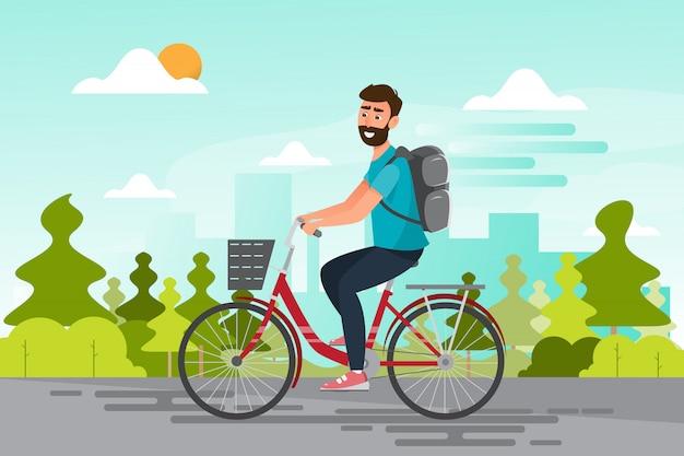 Man fietsten naar het kantoor Premium Vector