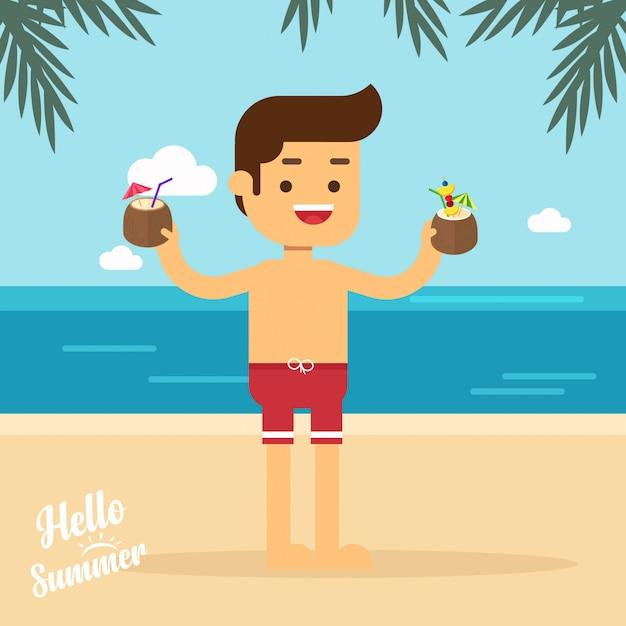Man gaan reizen man op zomer strand op vakantie vakanties met cocktails Premium Vector