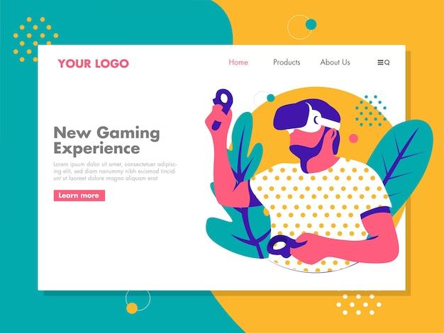 Man gaming met virtual reality-brillen Premium Vector