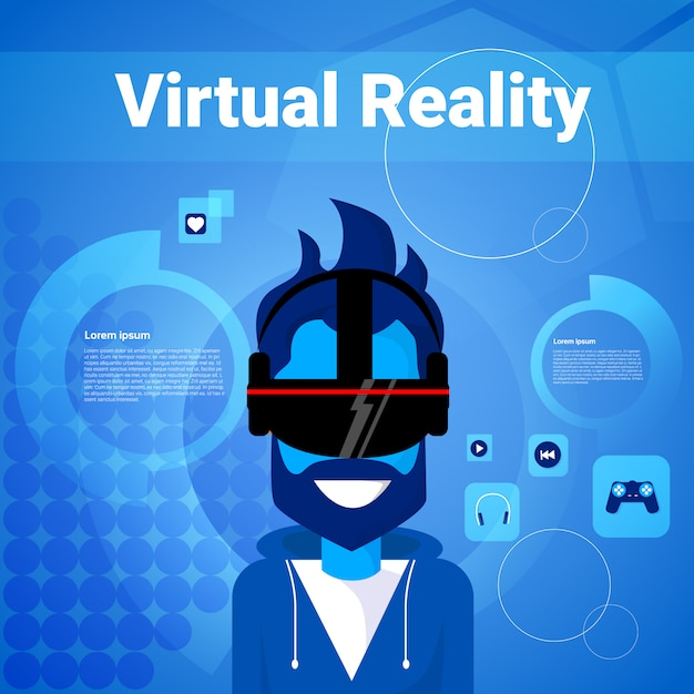 Man gaming wear virtual reality glasses modern vr goggles technology concept Premium Vector