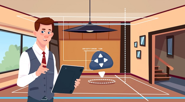 Man gebruik digitale tablet-app van smart domoticasysteem over woonkamer achtergrond Premium Vector