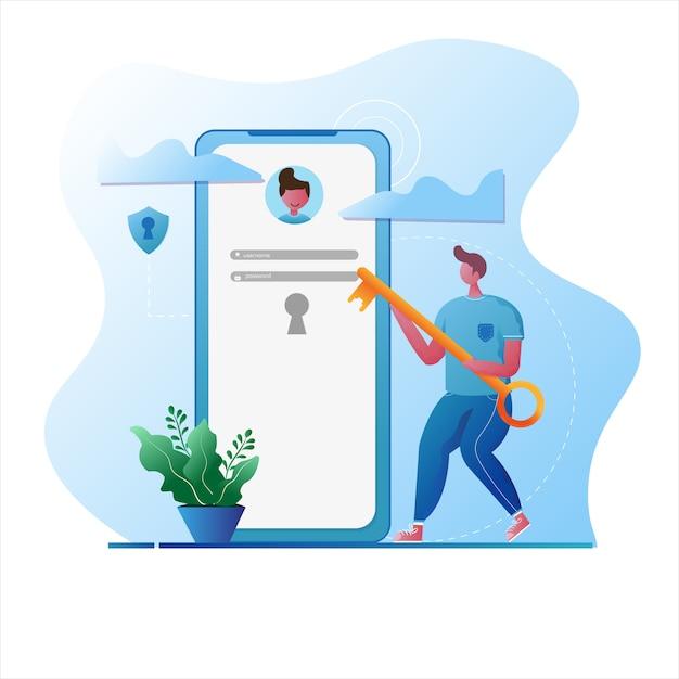 Man gebruikt een sleutel om in te loggen beveiligde login illustratie Premium Vector