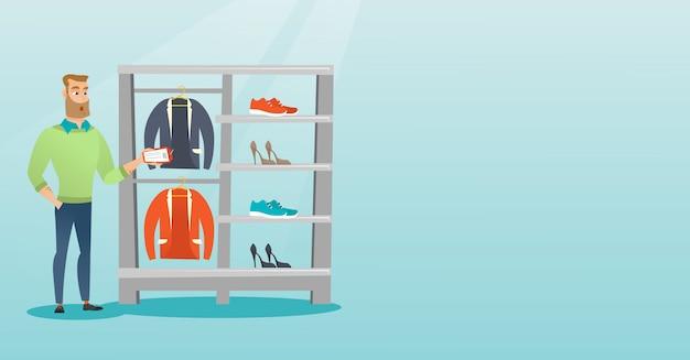 Man geschokt door een prijskaartje in een kledingwinkel. Premium Vector