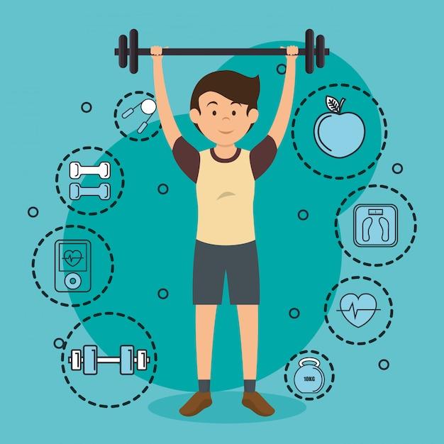 Man gewichtheffen met sport pictogrammen Gratis Vector