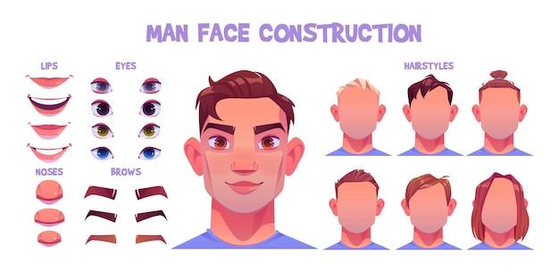 Man gezicht constructeur, avatar van blanke mannelijke karakter creatie hoofden, kapsel, neus, ogen met wenkbrauwen en lippen. Gratis Vector