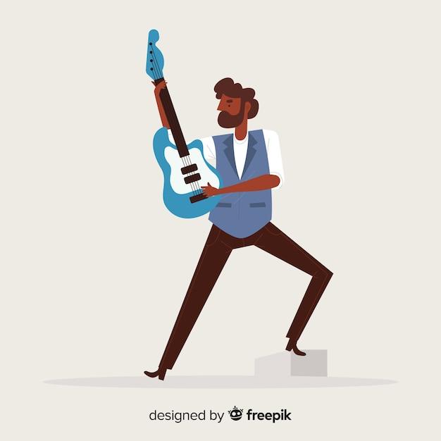 Man gitaar achtergrond spelen Gratis Vector